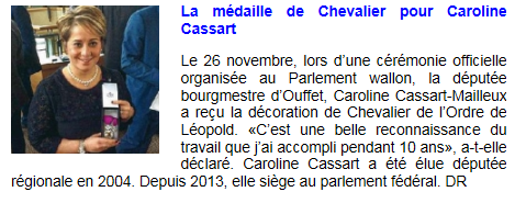 Capture - presse - sudpresse - Médaille de chevalier - 29 novembre 2014
