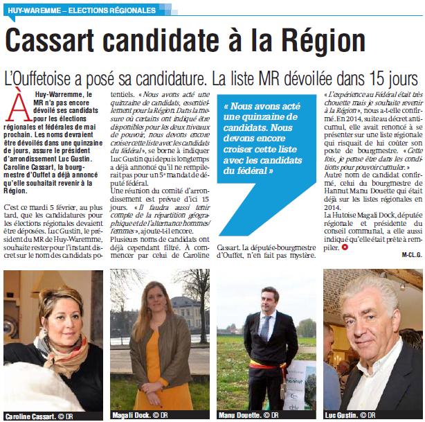 Cassart candidate à la région