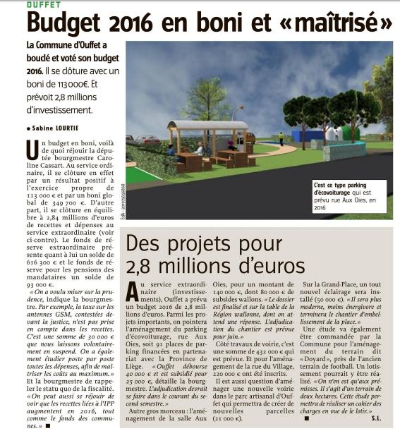 Lavenir - Ouffet budget - 14-12-2016