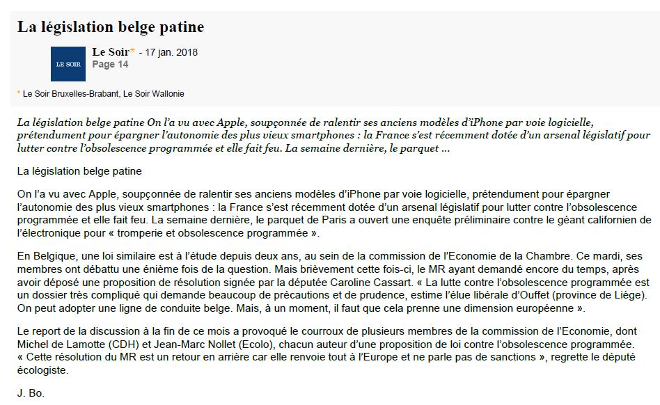 la législation belge patine