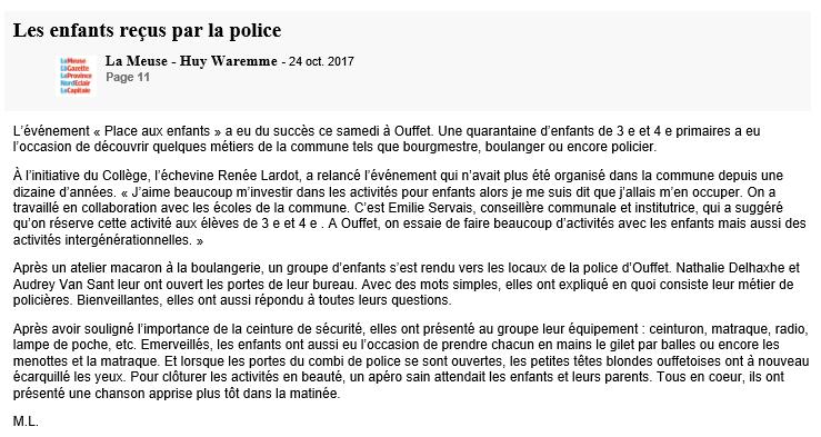 les enfants reçus par la police